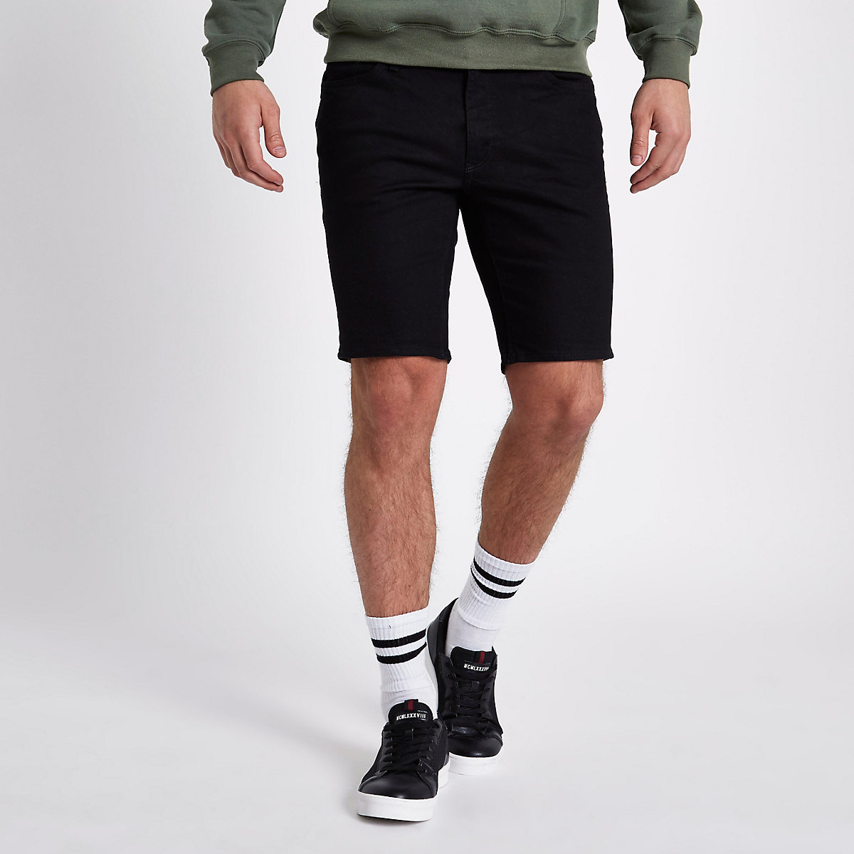 Black slim fit Dylan denim shorts