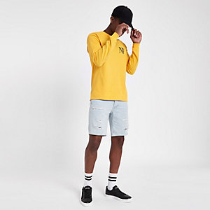 Dylan - Lichtblauwe slim-fit ripped denim short