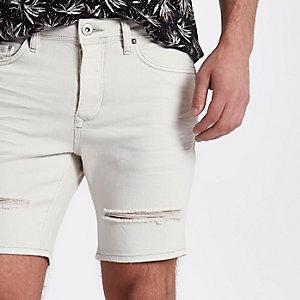 Short en jean crème déchiré coupe slim