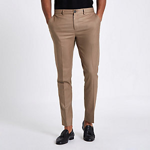 Tan skinny fit smart pants