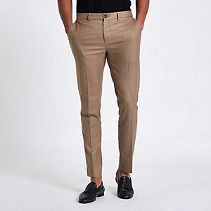Pantalon habillé skinny fauve