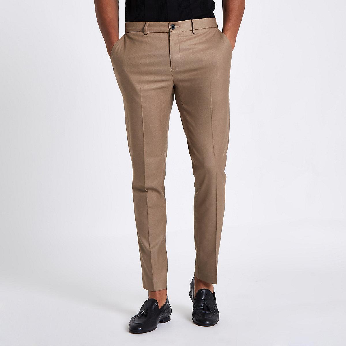 Tan skinny fit smart pants