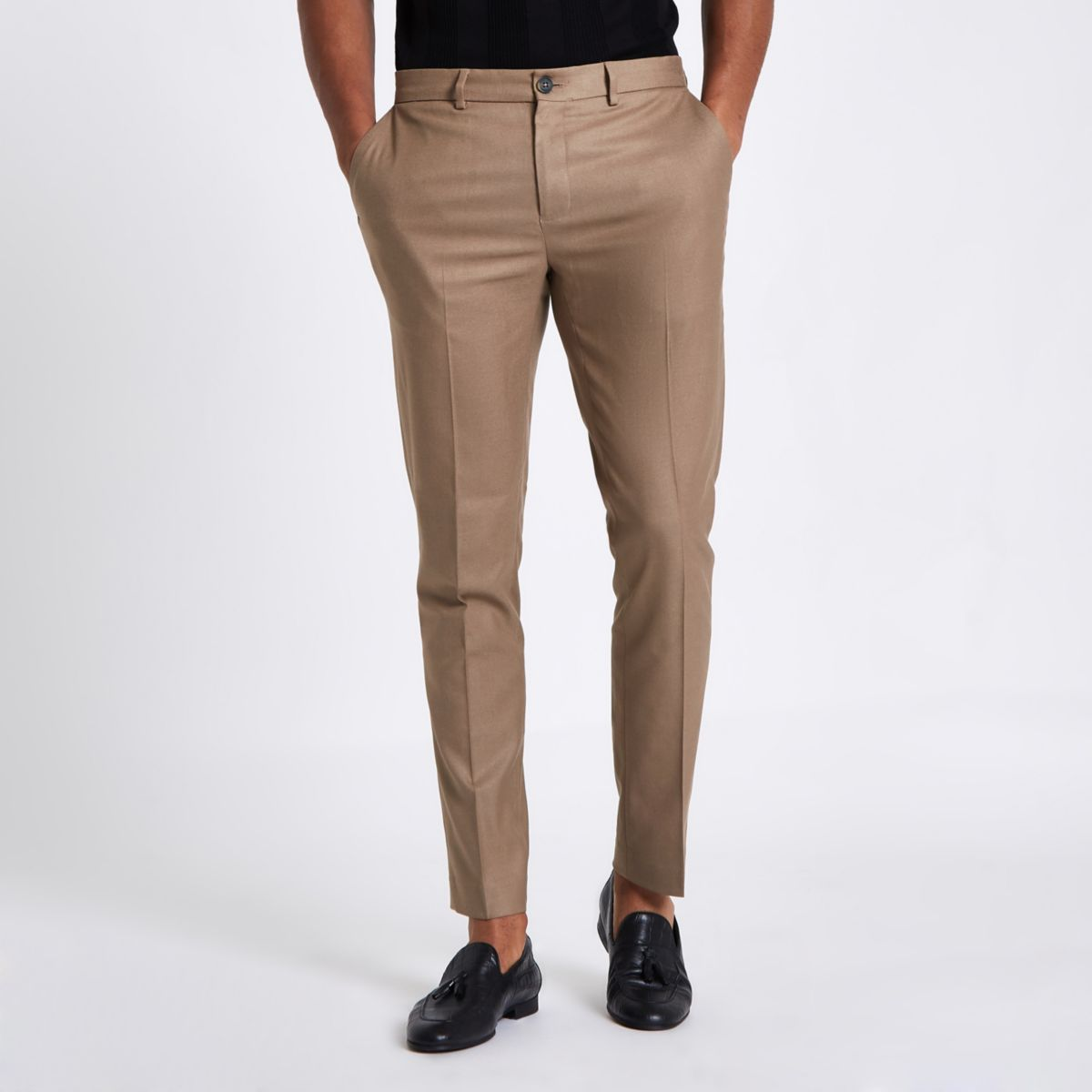 Tan skinny fit smart trousers