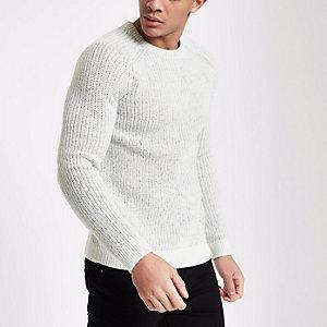 Pullover in Creme mit Raglanärmeln