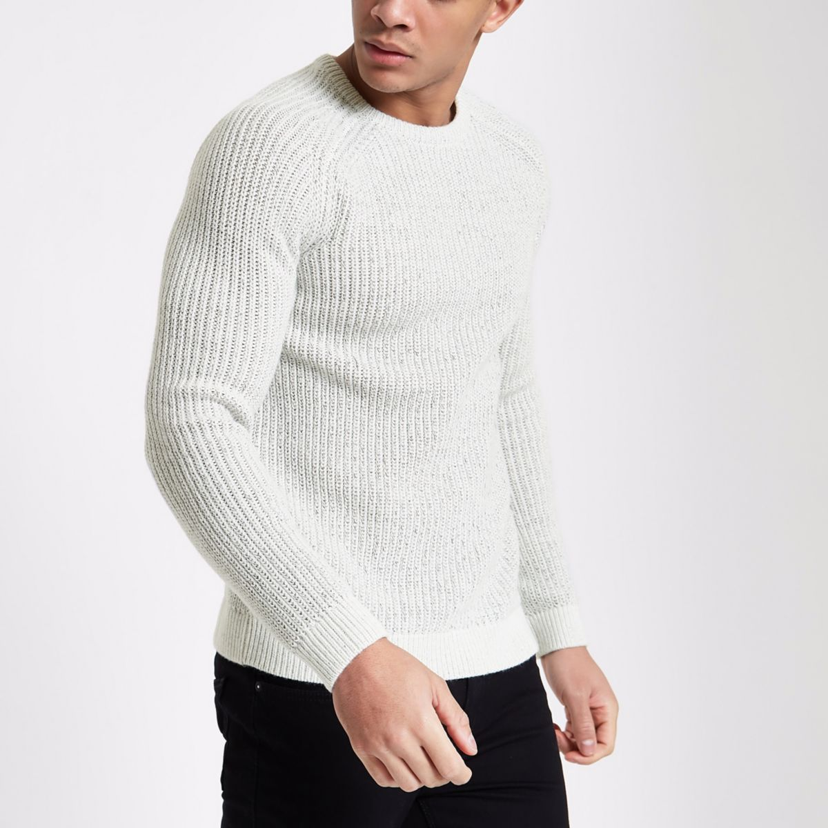 Cream raglan sleeve fisherman sweater