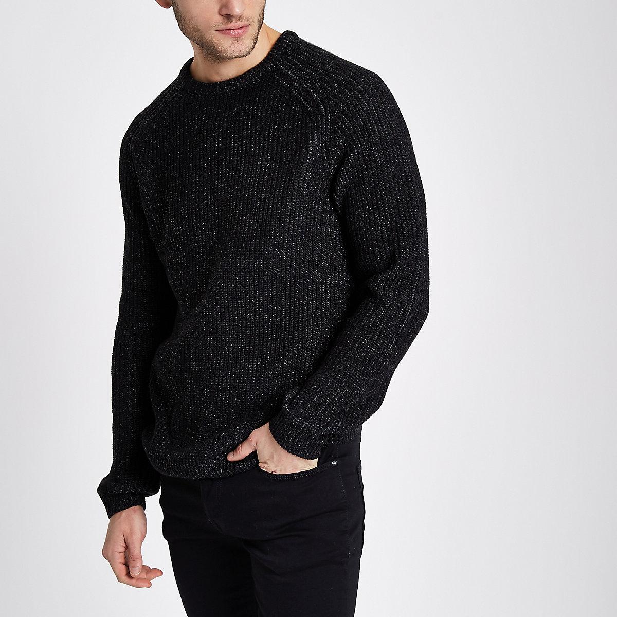 Dark grey raglan fisherman sweater
