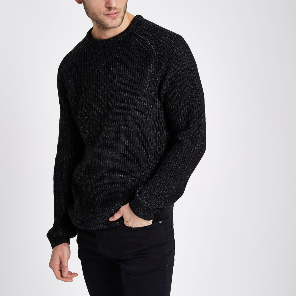 Dark grey raglan fisherman sweater