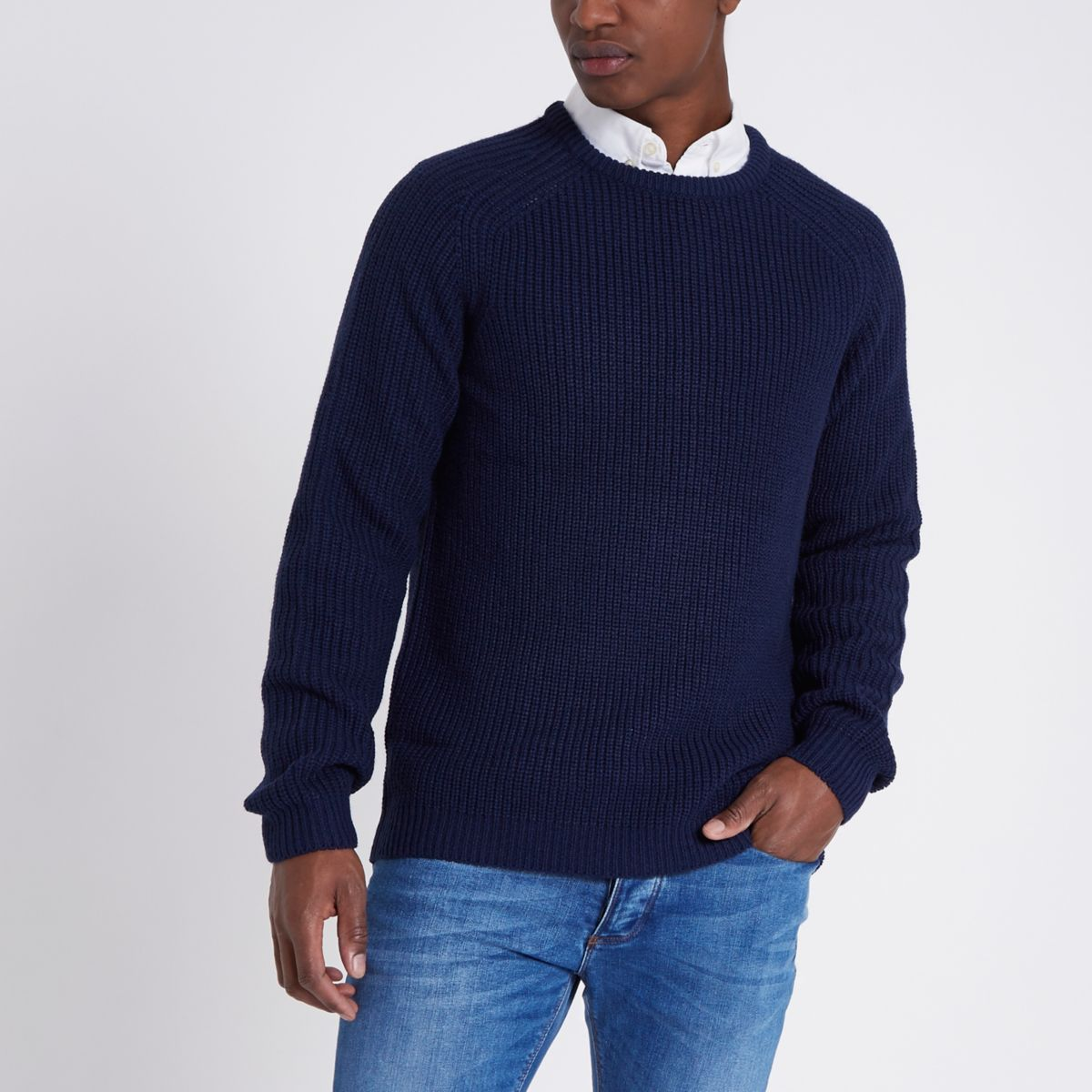 Blue raglan sleeve fisherman jumper