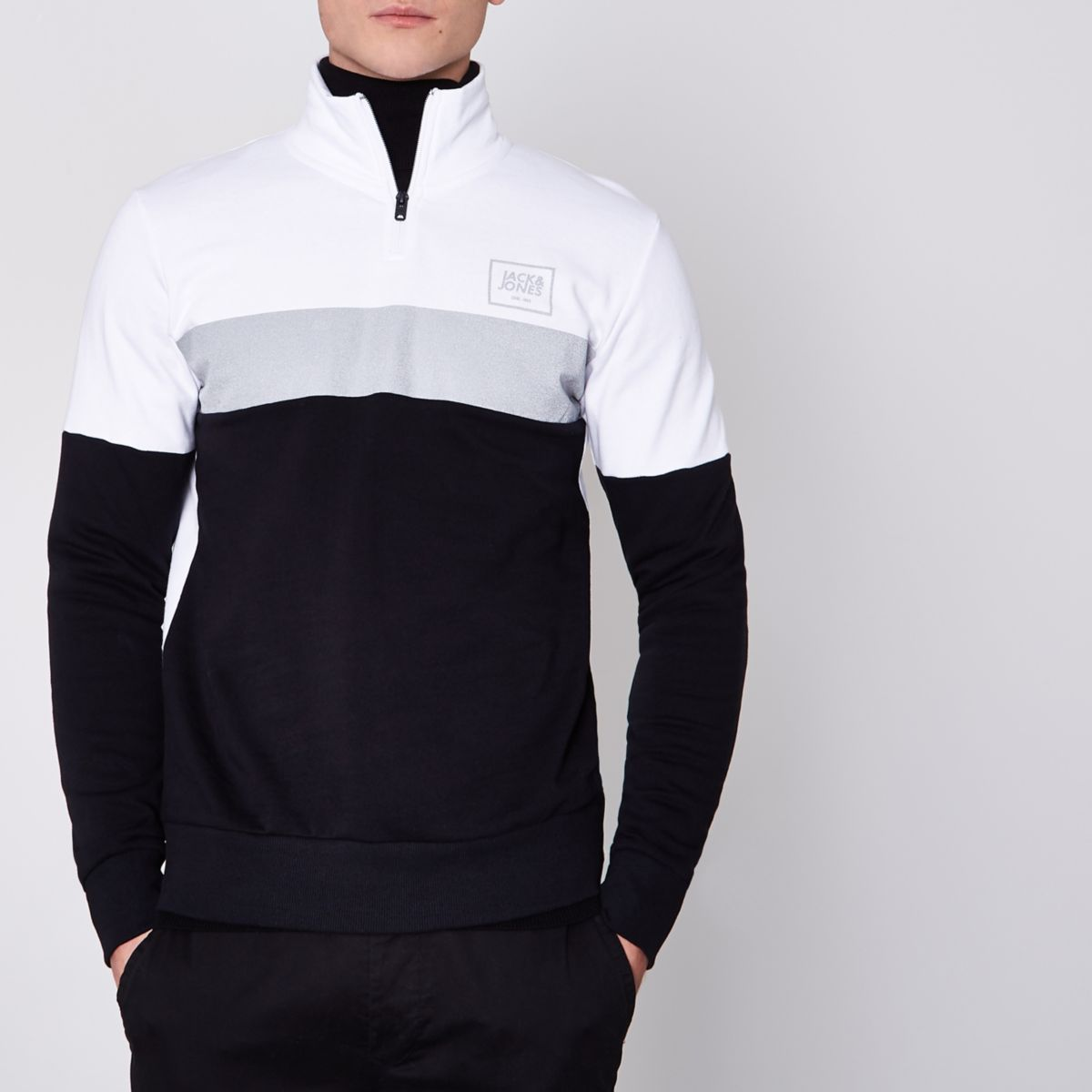 Jack & Jones Core black block zip top
