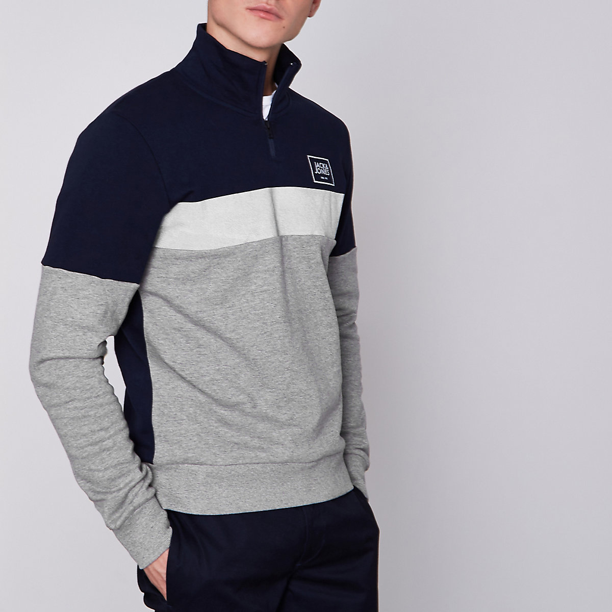 Jack & Jones Core grey zip neck sweatshirt