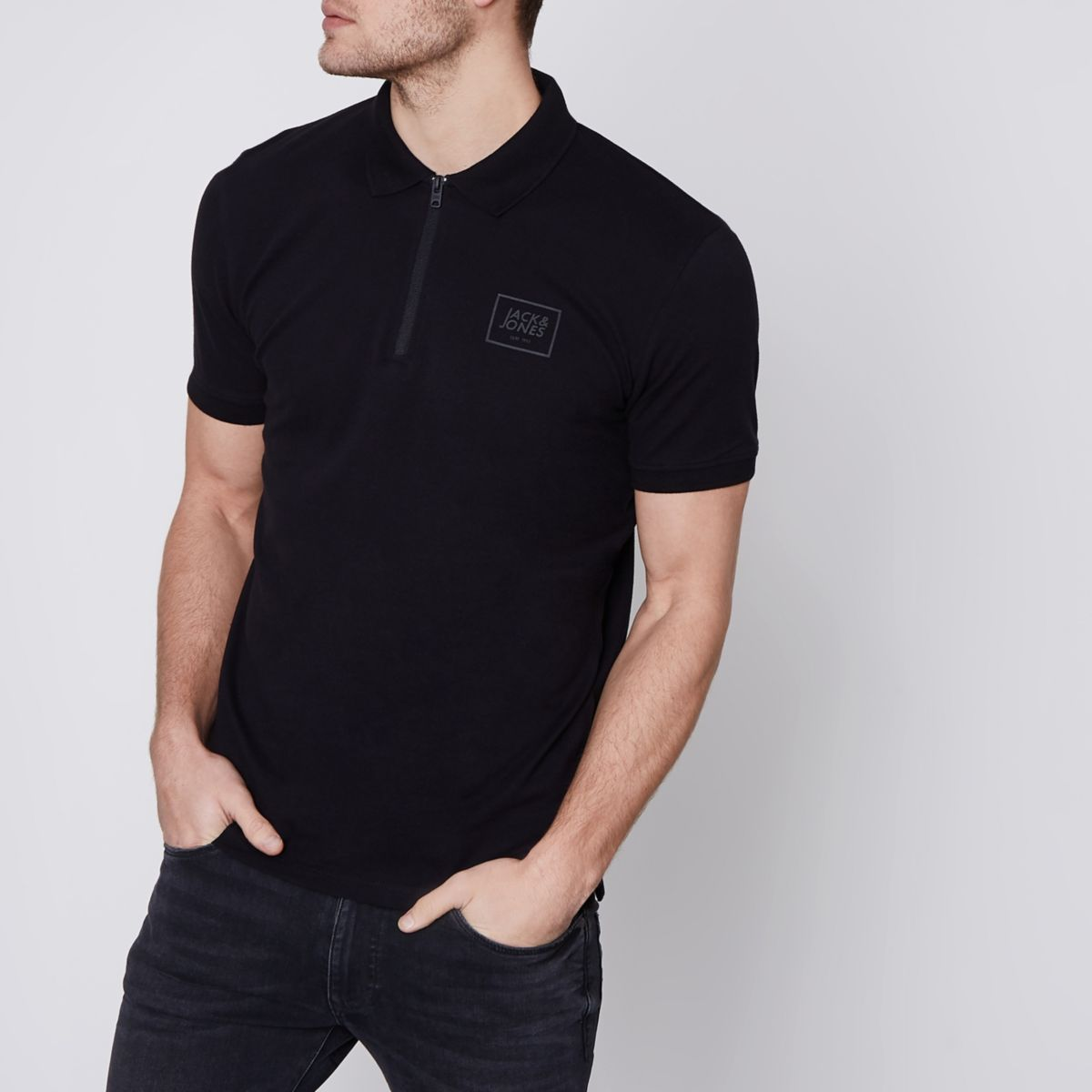 Jack & Jones Core – Schwarzes Polohemd mit Reißverschluss
