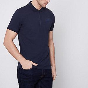 Jack & Jones Core – Marineblaues Polohemd mit Reißverschluss
