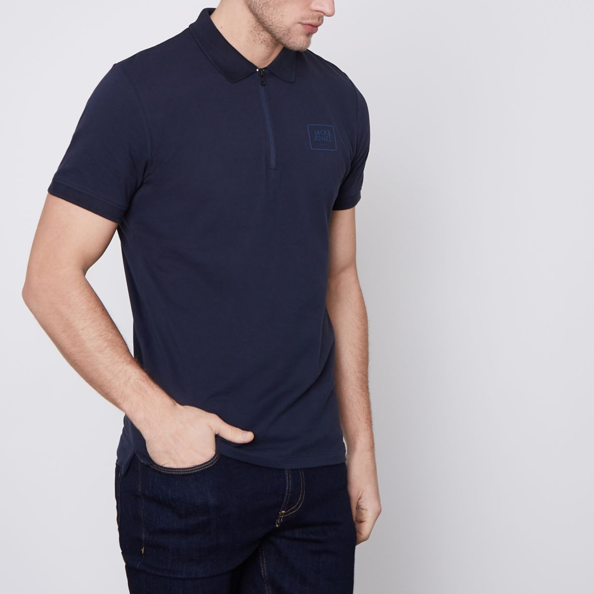 Jack & Jones Core navy zip polo shirt