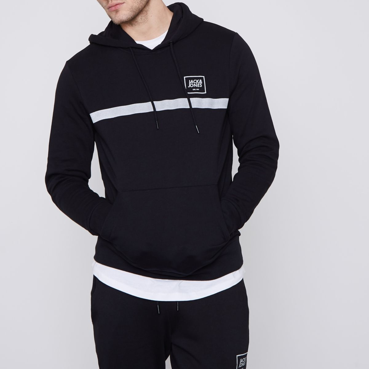 Jack & Jones Core black print hoodie