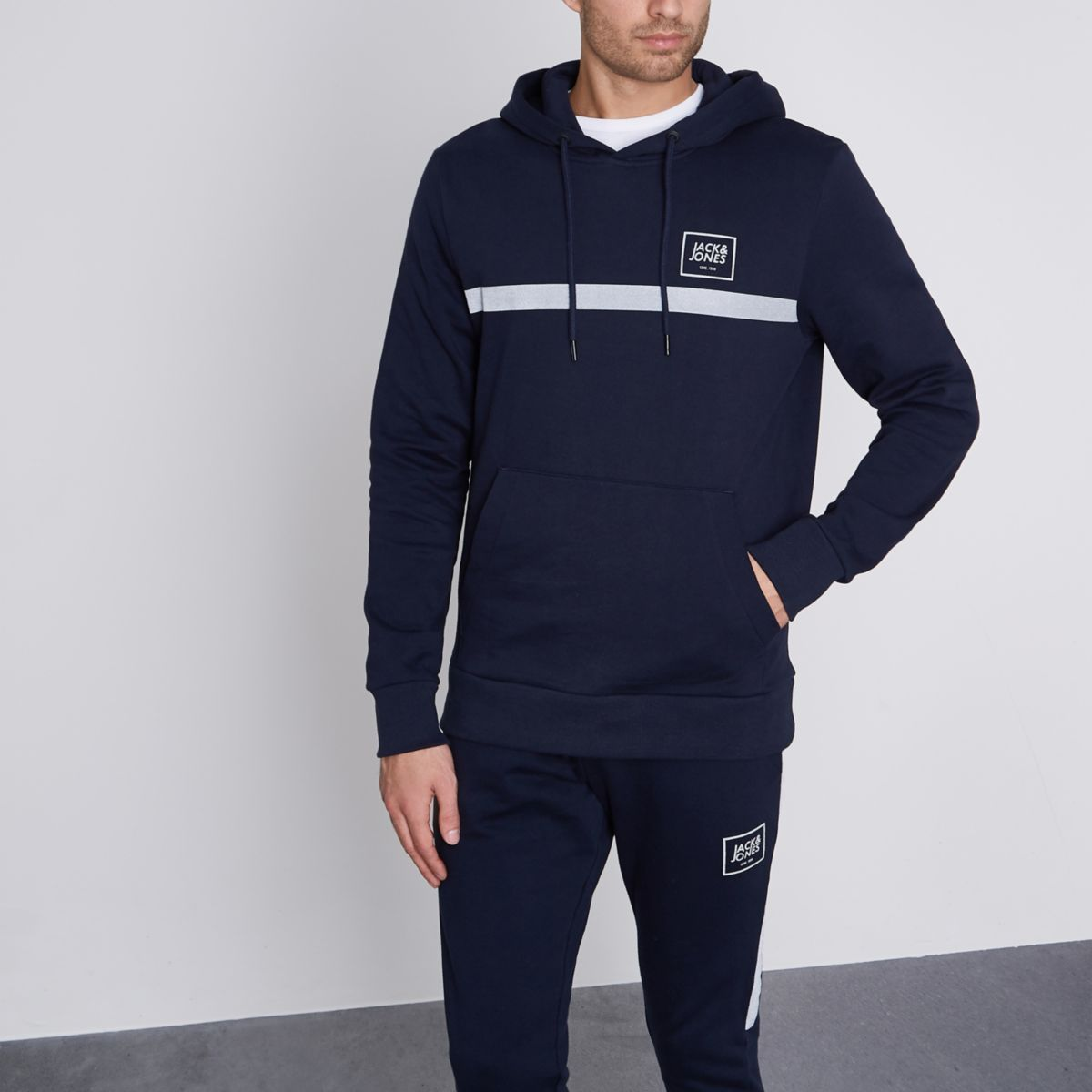 Jack & Jones Core navy print hoodie