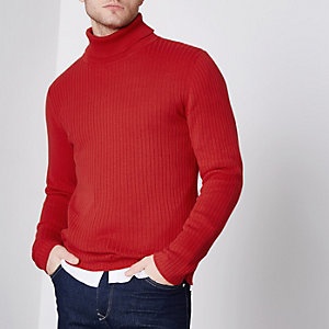 Jack & Jones Premium red roll neck jumper