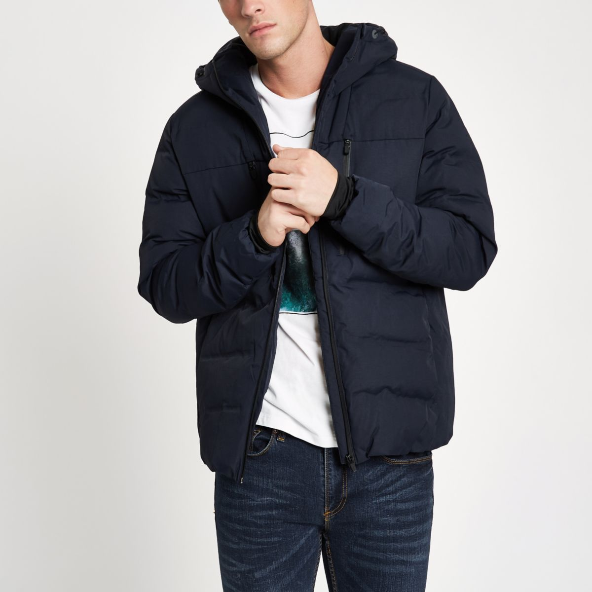 Navy Jack & Jones Tech quilted coat