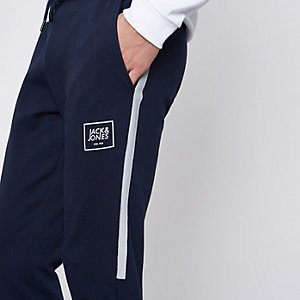 Navy Jack & Jones Core side stripe joggers