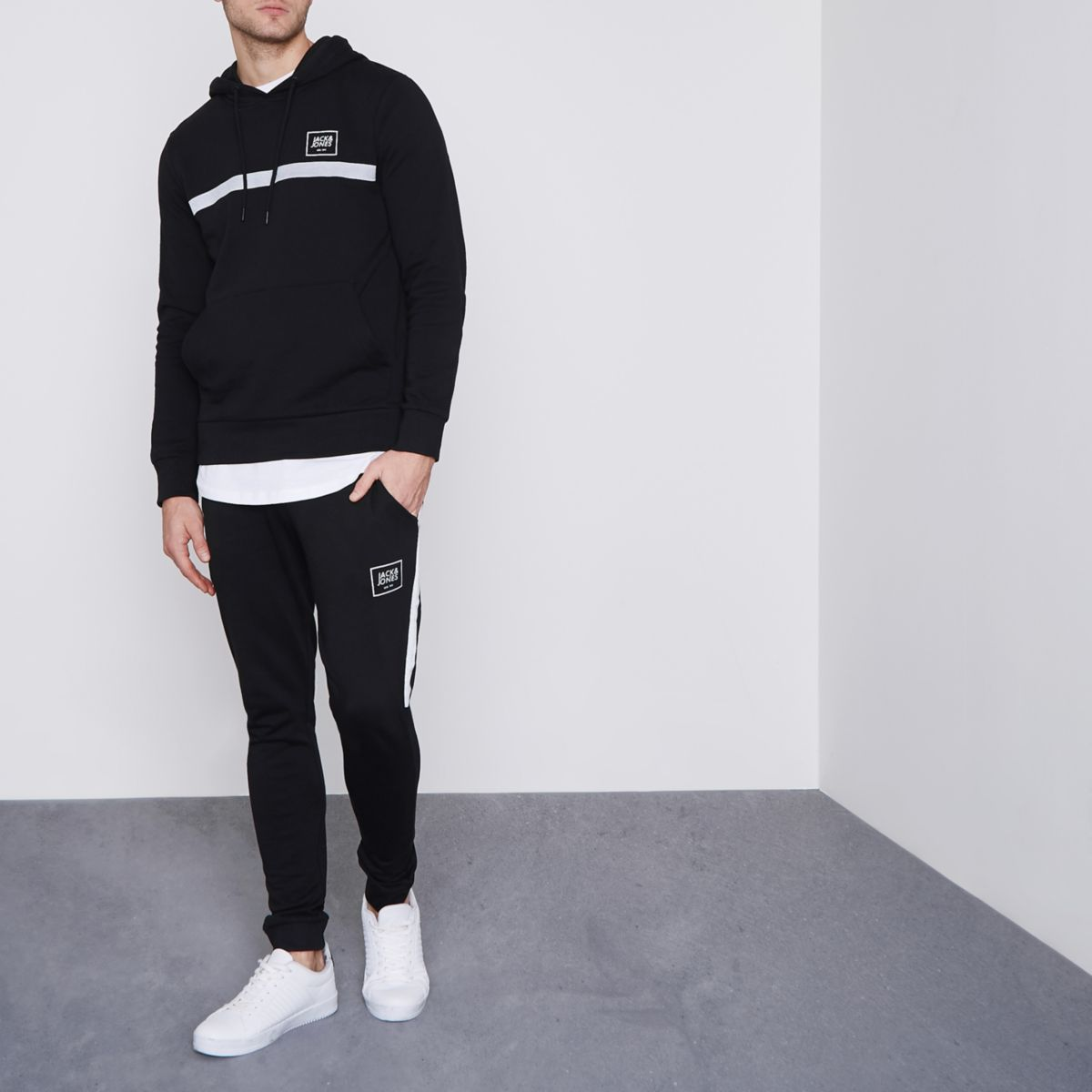 Jack & Jones Core black side stripe joggers