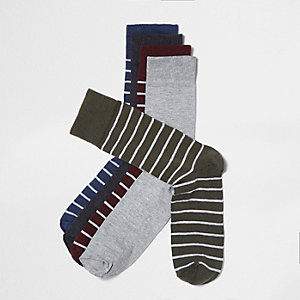 Green khaki stripe socks multipack