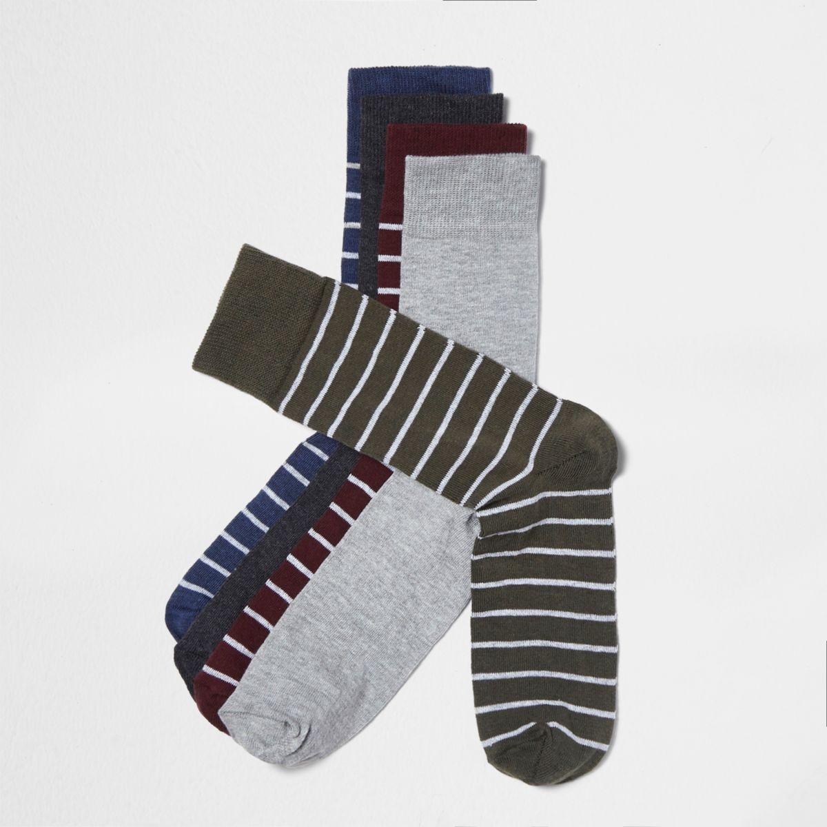 Green khaki stripe socks multipack