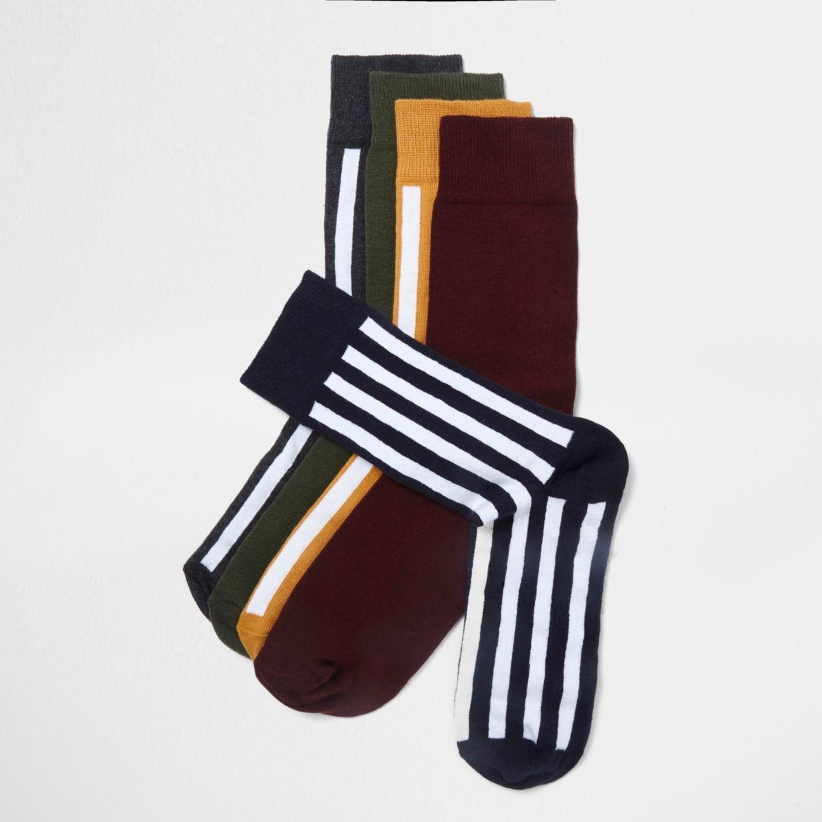 Navy block colour stripe socks multipack