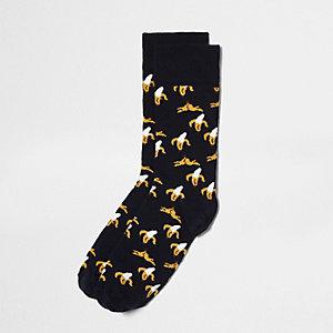 Schwarze Socken mit Bananenprint