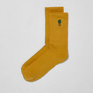 Yellow pineapple embroidered socks