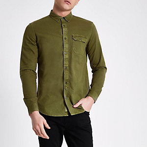 Dark green washed slim fit button-down shirt