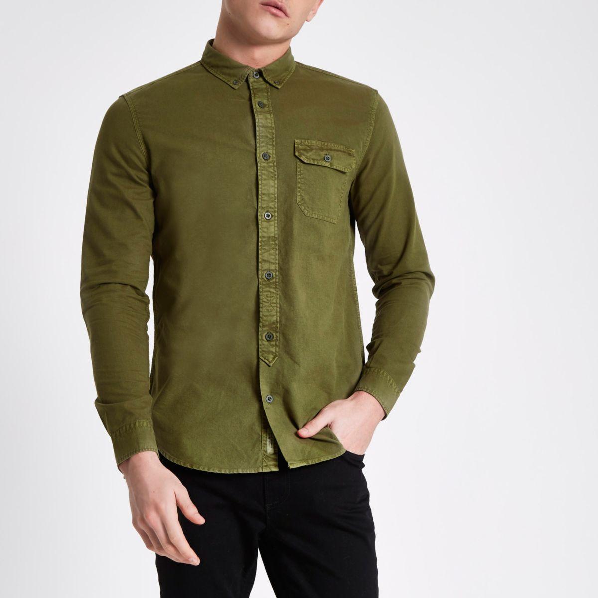 Dark green washed slim fit button-down shirt