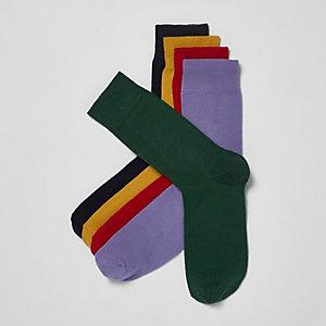 Multipack rode meerkleurige sokken
