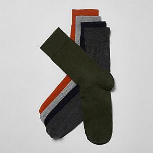 Multipack oranje geribbelde sokken