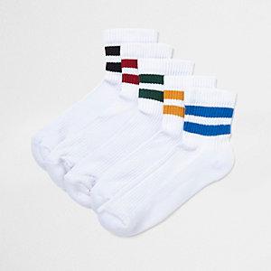 Lot de chaussettes tubes blanches à rayures