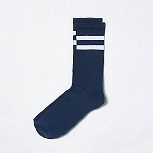 Navy stripe tube socks