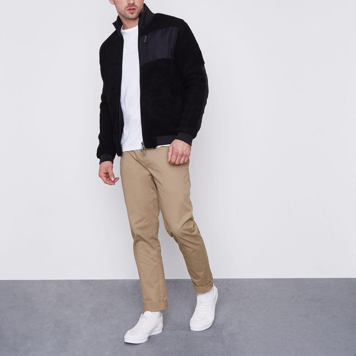 Only & Sons black teddy fleece zip-up jacket