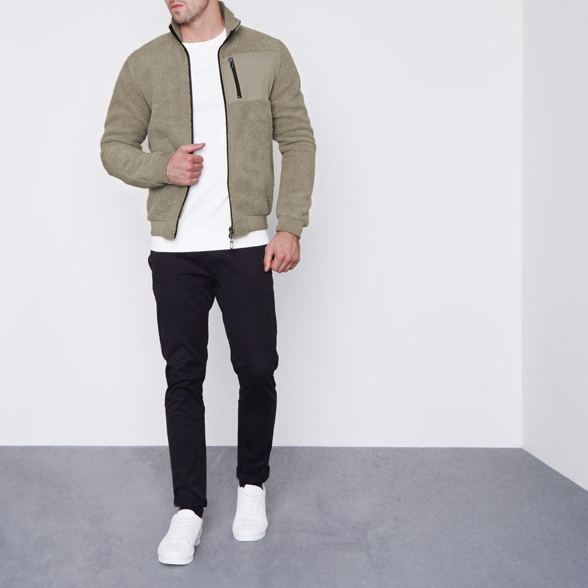 Grey Only & Sons teddy fleece zip-up jacket