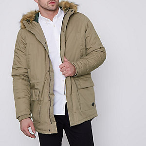 Brown Only & Sons faux fur trim parka