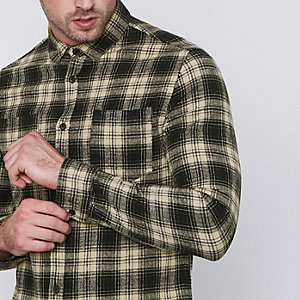 Green Only & Sons check print shirt