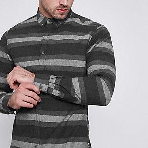 Only & Sons – Graues, schmales Hemd mit Streifen