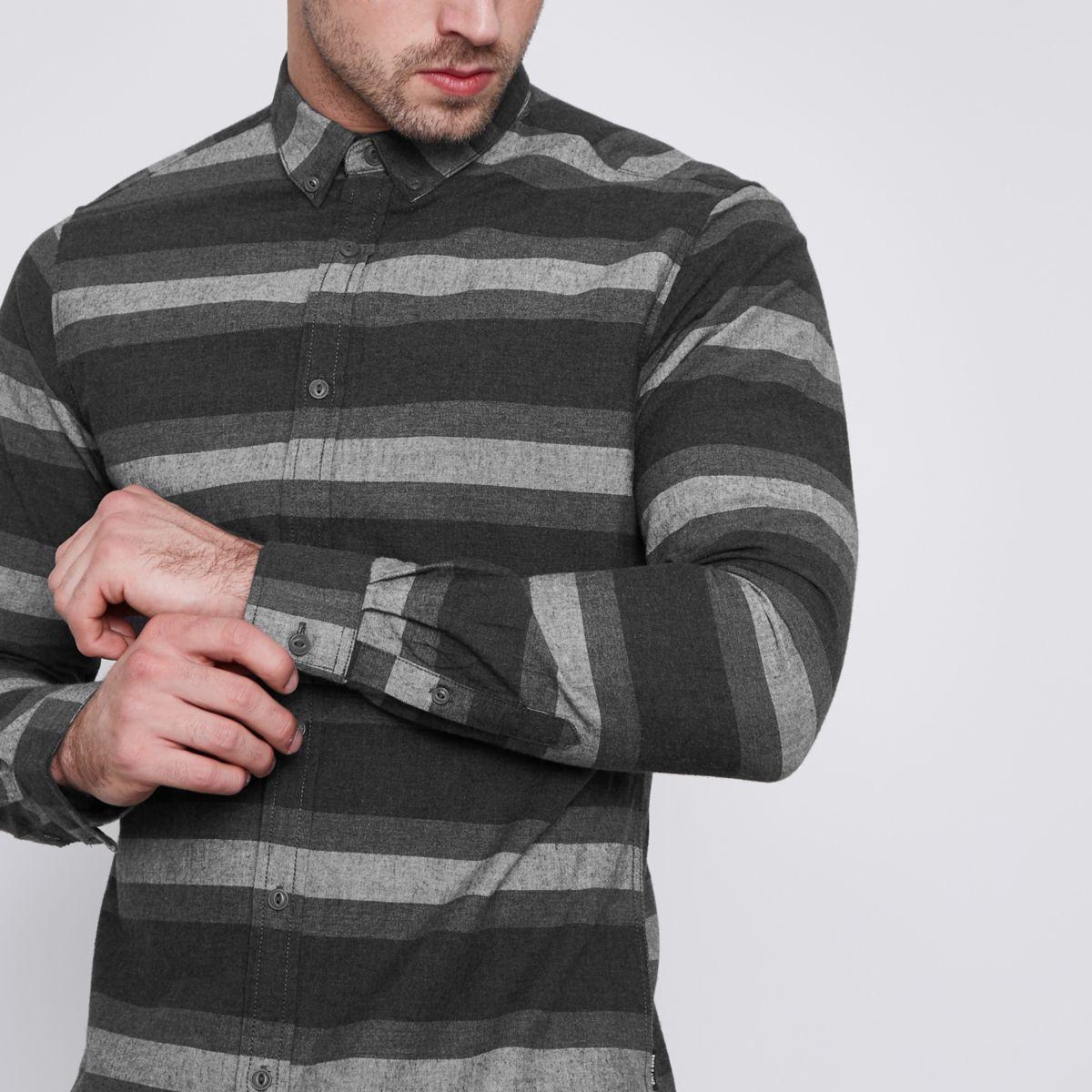 Grey Only & Sons stripe slim fit shirt