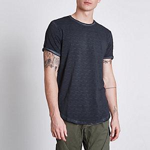 Only & Sons – Genopptes T-Shirt in schwarzer Waschung