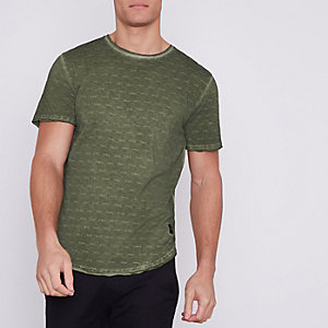 Khaki green washed Only & Sons slub T-shirt