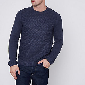 Navy Only & Sons structured knit jumper