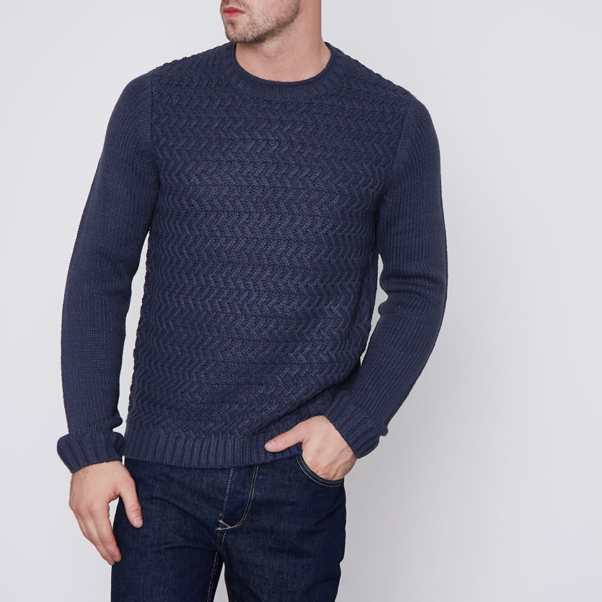 Navy Only & Sons structured knit sweater