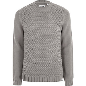 Only & Sons – Pull en maille structurée gris