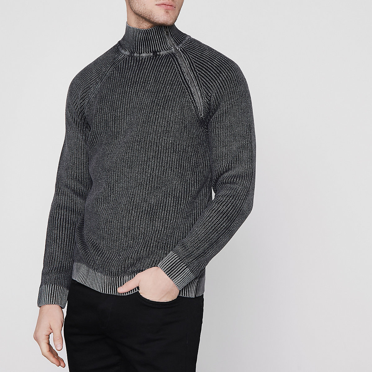 Only & Sons black washed rib high neck jumper