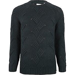 Only & Sons - Marineblauwe grofgebreide pullover