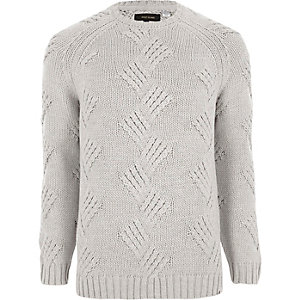Light grey Only & Sons chunky knit sweater