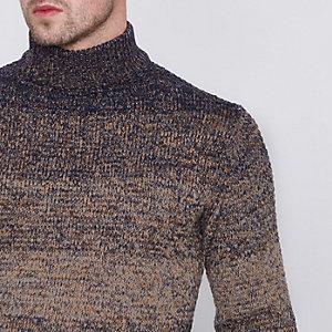 Only & Sons – Marineblauer, hochgeschlossener Pullover mit Farbverlauf