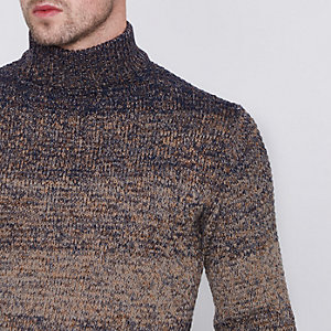 Navy Only & Sons ombre high neck jumper